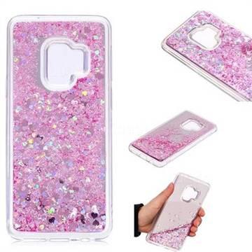 Glitter Sand Mirror Quicksand Dynamic Liquid Star TPU Case for Samsung Galaxy S9 - Cherry Pink