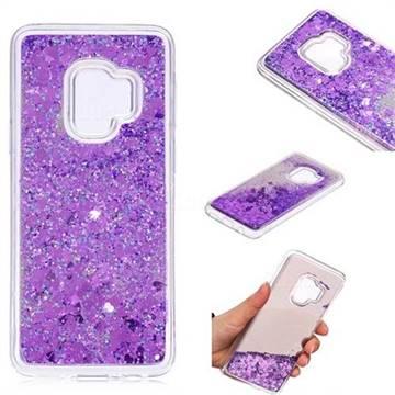 Glitter Sand Mirror Quicksand Dynamic Liquid Star TPU Case for Samsung Galaxy S9 - Purple