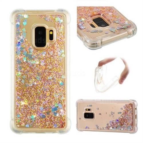 Dynamic Liquid Glitter Sand Quicksand Star TPU Case for Samsung Galaxy S9 - Diamond Gold