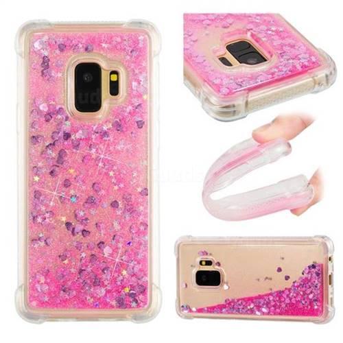Dynamic Liquid Glitter Sand Quicksand TPU Case for Samsung Galaxy S9 - Pink Love Heart