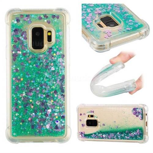 Dynamic Liquid Glitter Sand Quicksand TPU Case for Samsung Galaxy S9 - Green Love Heart