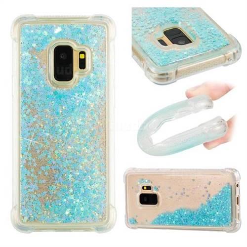 Dynamic Liquid Glitter Sand Quicksand TPU Case for Samsung Galaxy S9 - Silver Blue Star