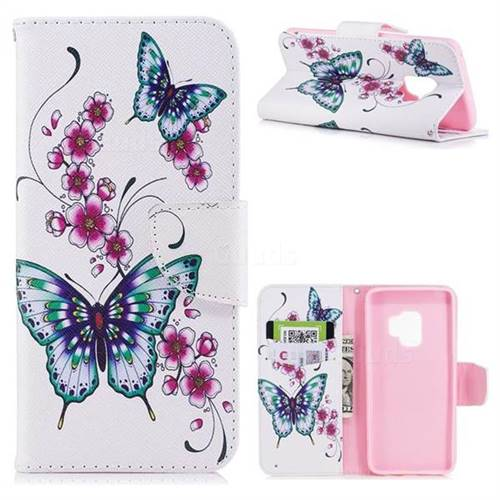 Peach Butterfly Leather Wallet Case for Samsung Galaxy S9