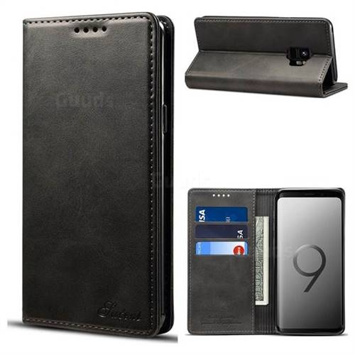 Suteni Simple Style Calf Stripe Leather Wallet Phone Case for Samsung Galaxy S9 - Black