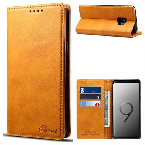 Suteni Simple Style Calf Stripe Leather Wallet Phone Case for Samsung Galaxy S9 - Khaki