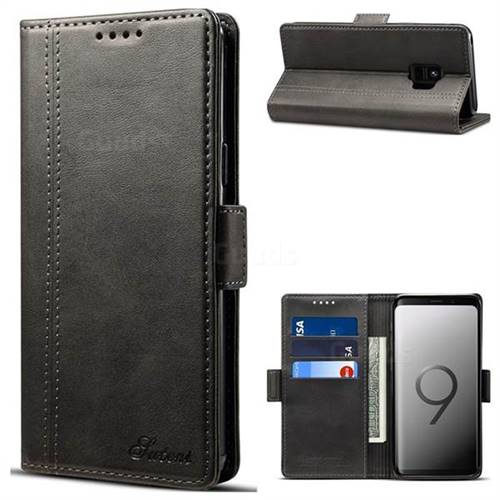 Calf Stripe Dual Color Leather Wallet Flip Case for Samsung Galaxy S9 - Black