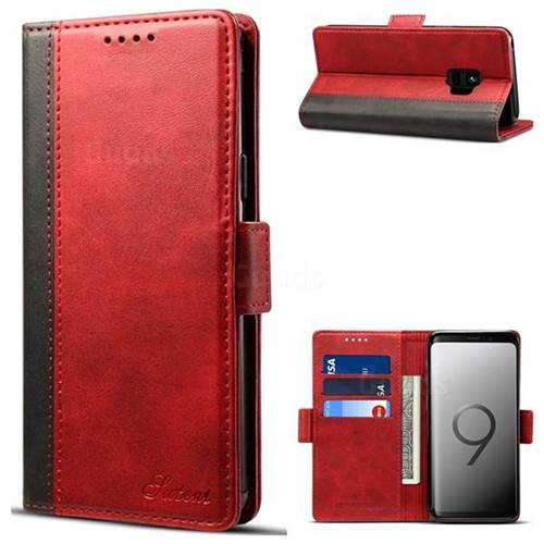 Suteni Calf Stripe Dual Color Leather Wallet Flip Case for Samsung Galaxy S9 - Red