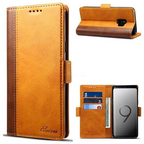 Calf Stripe Dual Color Leather Wallet Flip Case for Samsung Galaxy S9 - Khaki