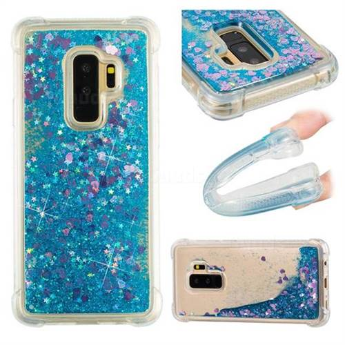 Dynamic Liquid Glitter Sand Quicksand TPU Case for Samsung Galaxy S9 Plus(S9+) - Blue Love Heart