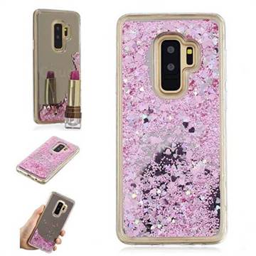 Glitter Sand Mirror Quicksand Dynamic Liquid Star TPU Case for Samsung Galaxy S9 Plus(S9+) - Cherry Pink