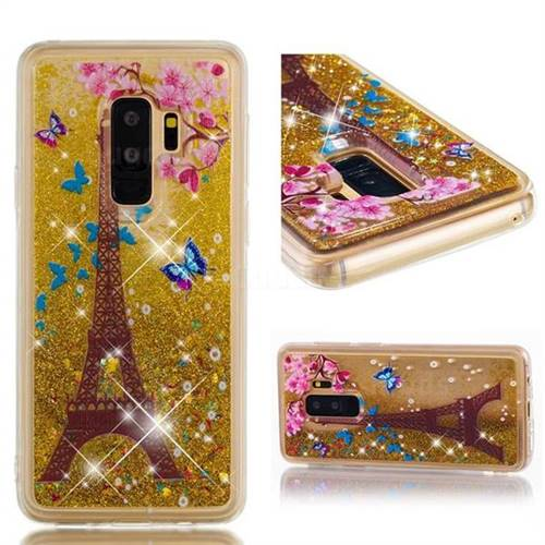 Dynamic Liquid Glitter Quicksand Soft TPU Case for Samsung Galaxy S9 Plus(S9+) - Golden Tower