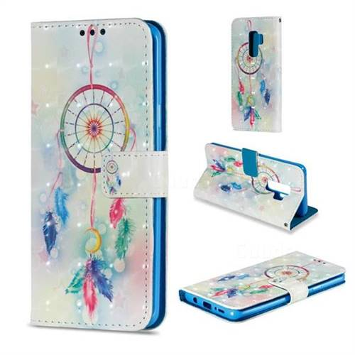 Feather Wind Chimes 3D Painted Leather Wallet Case for Samsung Galaxy S9 Plus(S9+)