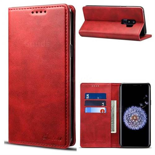 Suteni Simple Style Calf Stripe Leather Wallet Phone Case for Samsung Galaxy S9 Plus(S9+) - Red