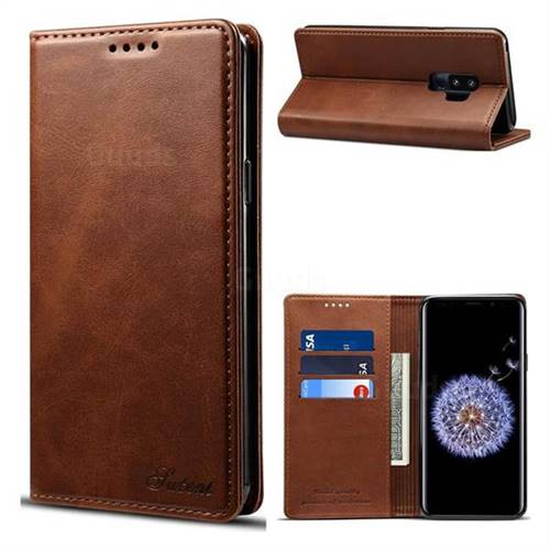 Suteni Simple Style Calf Stripe Leather Wallet Phone Case for Samsung Galaxy S9 Plus(S9+) - Brown