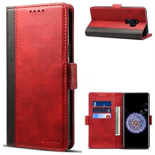 Suteni Calf Stripe Dual Color Leather Wallet Flip Case for Samsung Galaxy S9 Plus(S9+) - Red