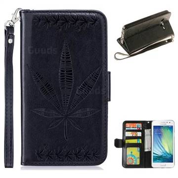 Intricate Embossing Maple Leather Wallet Case for Samsung Galaxy A3 2015 A300 - Black