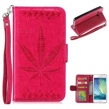 Intricate Embossing Maple Leather Wallet Case for Samsung Galaxy A3 2015 A300 - Rose