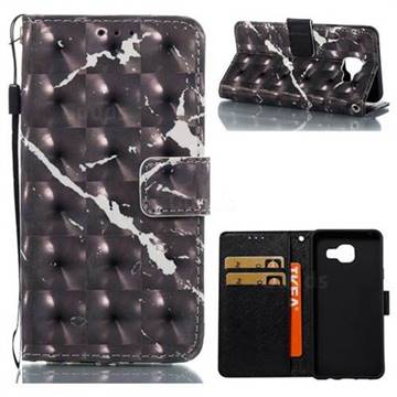 Black Marble 3D Painted Leather Wallet Case for Samsung Galaxy A3 2016 A310
