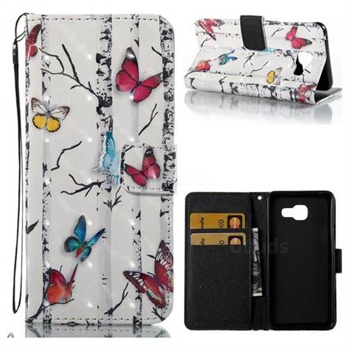 Colored Butterflies 3D Painted Leather Wallet Case for Samsung Galaxy A3 2016 A310