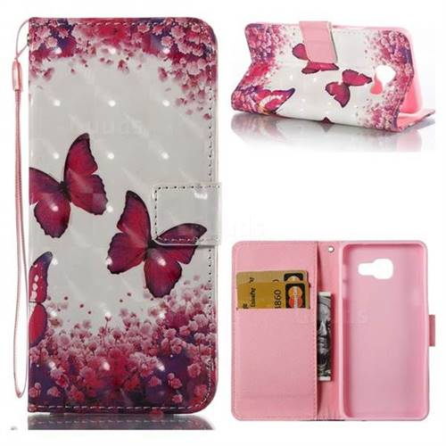Rose Butterfly 3D Painted Leather Wallet Case for Samsung Galaxy A3 2016 A310