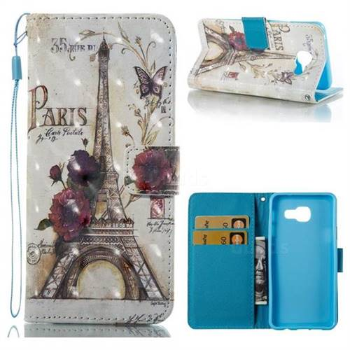 Flower Eiffel Tower 3D Painted Leather Wallet Case for Samsung Galaxy A3 2016 A310