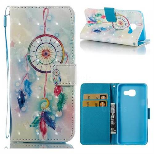Feather Wind Chimes 3D Painted Leather Wallet Case for Samsung Galaxy A3 2016 A310