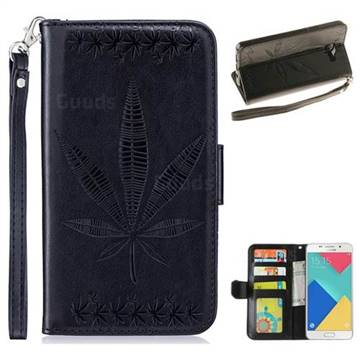 Intricate Embossing Maple Leather Wallet Case for Samsung Galaxy A3 2016 A310 - Black