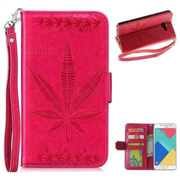 Intricate Embossing Maple Leather Wallet Case for Samsung Galaxy A3 2016 A310 - Rose