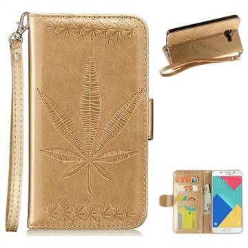 Intricate Embossing Maple Leather Wallet Case for Samsung Galaxy A3 2016 A310 - Champagne