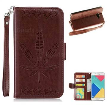 Intricate Embossing Maple Leather Wallet Case for Samsung Galaxy A3 2016 A310 - Brown