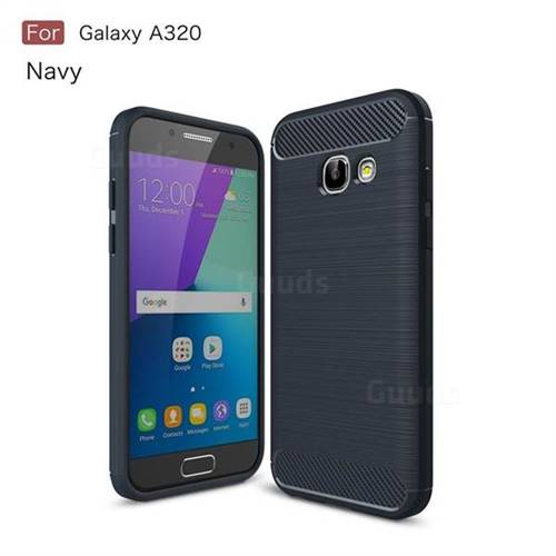 Luxury Carbon Fiber Brushed Wire Drawing Silicone TPU Back Cover for Samsung Galaxy A3 2017 A320 (Navy)