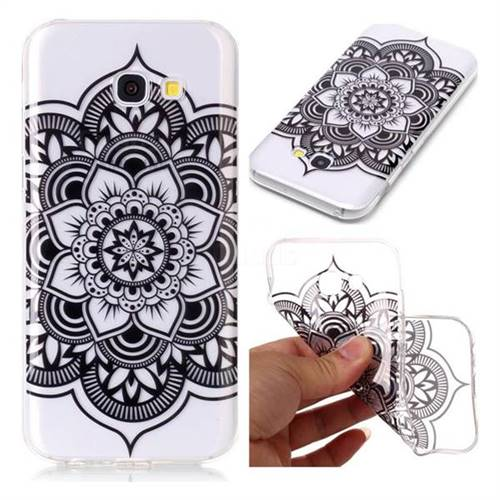 Black Mandala Flower Super Clear Soft TPU Back Cover for Samsung Galaxy A3 2017 A320