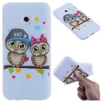 Couple Owls 3D Relief Matte Soft TPU Back Cover for Samsung Galaxy A3 2017 A320
