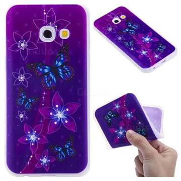 Butterfly Flowers 3D Relief Matte Soft TPU Back Cover for Samsung Galaxy A3 2017 A320