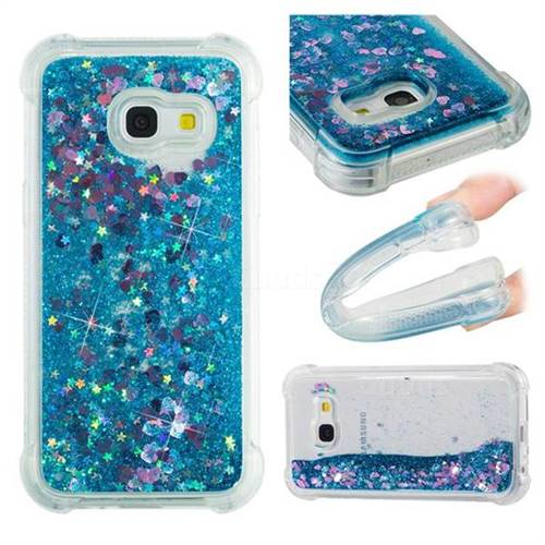 Dynamic Liquid Glitter Sand Quicksand TPU Case for Samsung Galaxy A3 2017 A320 - Blue Love Heart