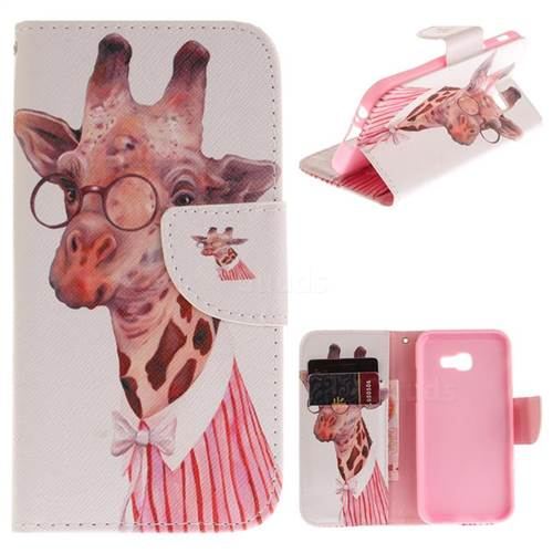 Pink Giraffe PU Leather Wallet Case for Samsung Galaxy A3 2017 A320