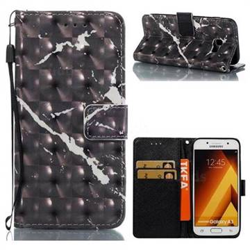 Black Marble 3D Painted Leather Wallet Case for Samsung Galaxy A3 2017 A320