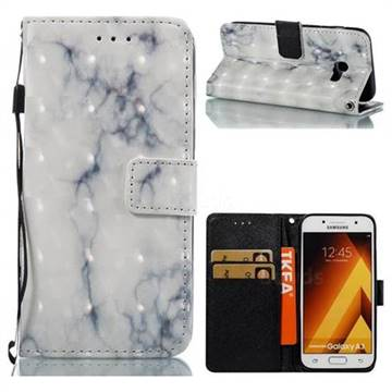 White Gray Marble 3D Painted Leather Wallet Case for Samsung Galaxy A3 2017 A320