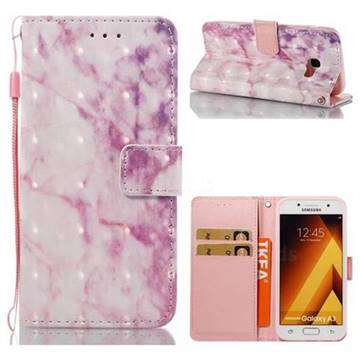 Pink Marble 3D Painted Leather Wallet Case for Samsung Galaxy A3 2017 A320