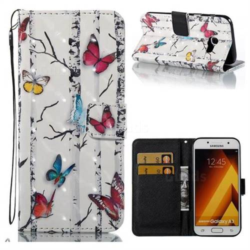 Colored Butterflies 3D Painted Leather Wallet Case for Samsung Galaxy A3 2017 A320