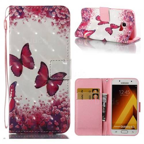 Rose Butterfly 3D Painted Leather Wallet Case for Samsung Galaxy A3 2017 A320