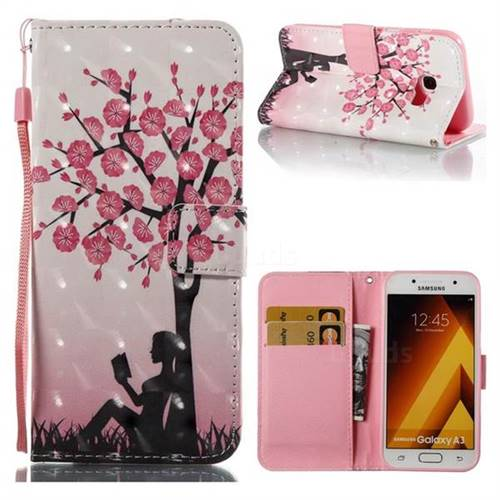 Plum Girl 3D Painted Leather Wallet Case for Samsung Galaxy A3 2017 A320