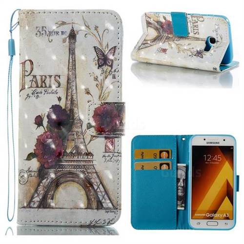 Flower Eiffel Tower 3D Painted Leather Wallet Case for Samsung Galaxy A3 2017 A320
