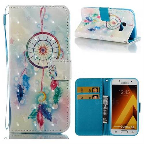 Feather Wind Chimes 3D Painted Leather Wallet Case for Samsung Galaxy A3 2017 A320