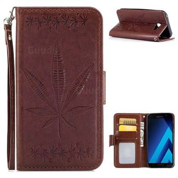 Intricate Embossing Maple Leather Wallet Case for Samsung Galaxy A3 2017 A320 - Brown