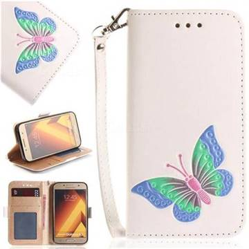 Imprint Embossing Butterfly Leather Wallet Case for Samsung Galaxy A3 2017 A320 - White