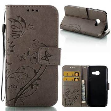 Embossing Butterfly Flower Leather Wallet Case for Samsung Galaxy A3 2017 A320 - Grey