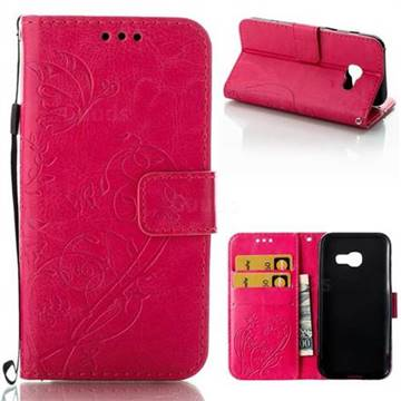 Embossing Butterfly Flower Leather Wallet Case for Samsung Galaxy A3 2017 A320 - Rose