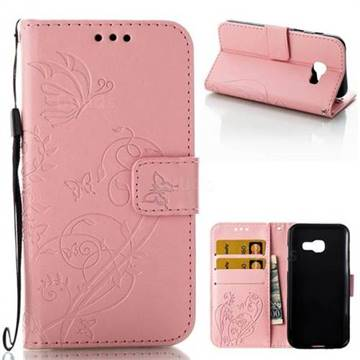 Embossing Butterfly Flower Leather Wallet Case for Samsung Galaxy A3 2017 A320 - Pink