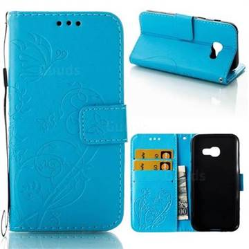 Embossing Butterfly Flower Leather Wallet Case for Samsung Galaxy A3 2017 A320 - Blue